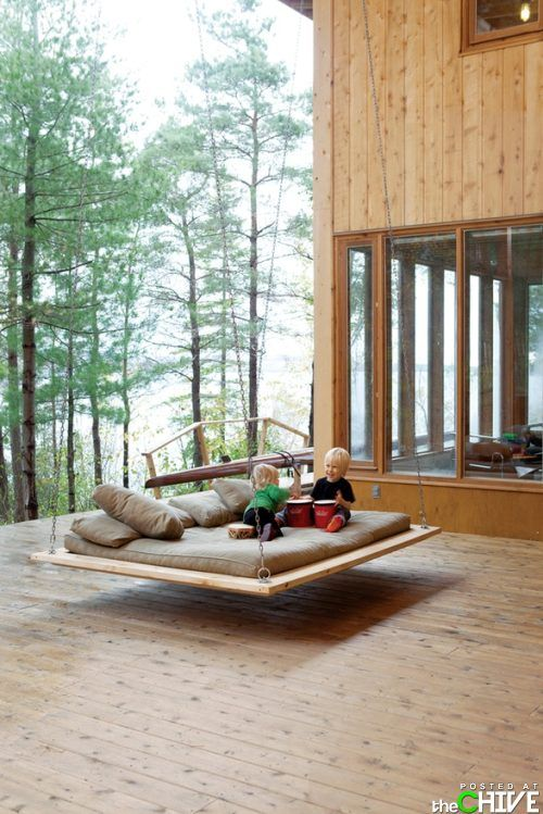 Hanging outdoor couch: Outdoor Beds, Idea, Floating Bed, Hanging Beds, Dream, House, Porches Swings, Outdoor Swings, Swings Beds