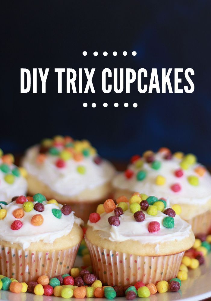 Loving these Trix Cupcakes. They are perfect for a birthday party, or just for a yummy dessert snack. I think they are my favorite way to use cereal for decorating.