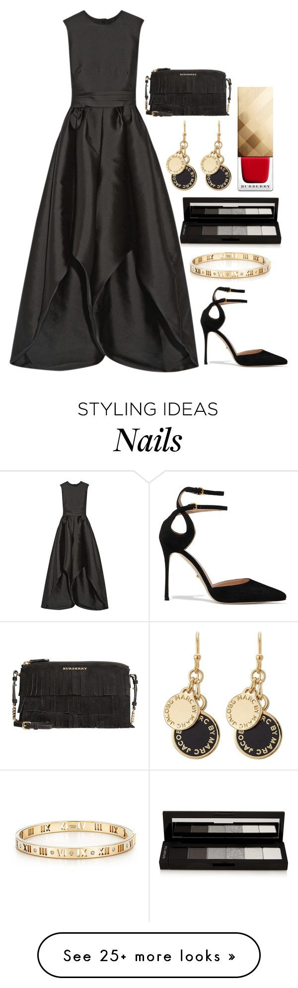 """Jumpsuit"" by styledbypr on Polyvore featuring Merchant Archive, Sergio Rossi, shu uemura, Tiffany & Co., Marc by Marc Jacobs and Burberry"