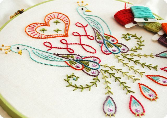 Peacock Embroidered Hoop