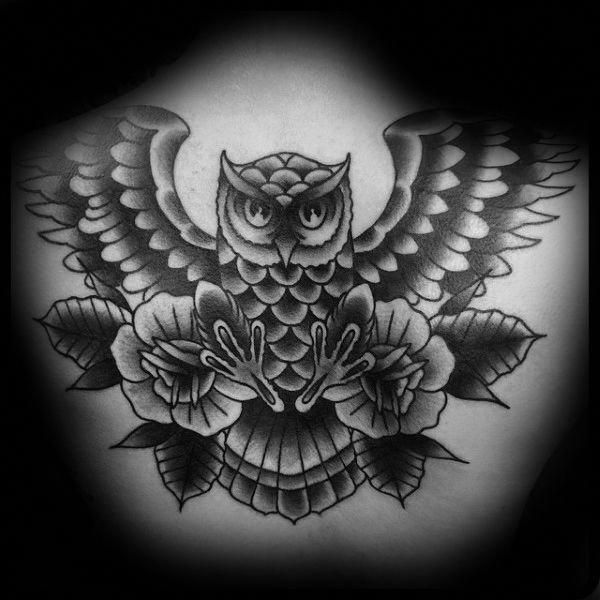 Tattoos On Back Tattoos For Guys Traditional Owl Tattoos Traditional Tattoo Black And Grey