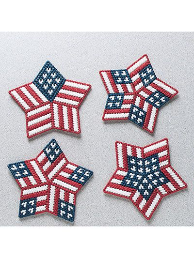 Stitch up this set of patriotic designs to show off your American pride any time of the year! Use them as magnets, pins, gift tags and so much more. This e-pattern was originally published as part of the Plastic Canvas Collector's Series.