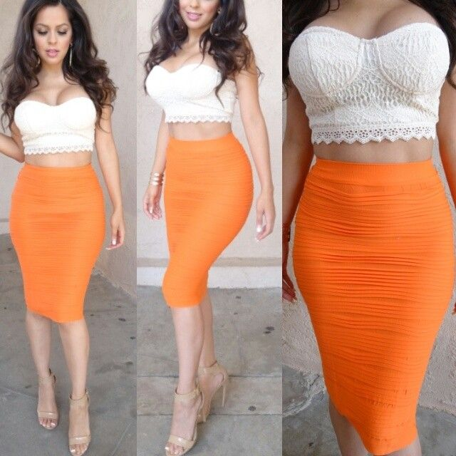 Sexy outfit for the summer! Lace crop top with a pop of neon body con skirt & finish it off with some nude sandal heels.