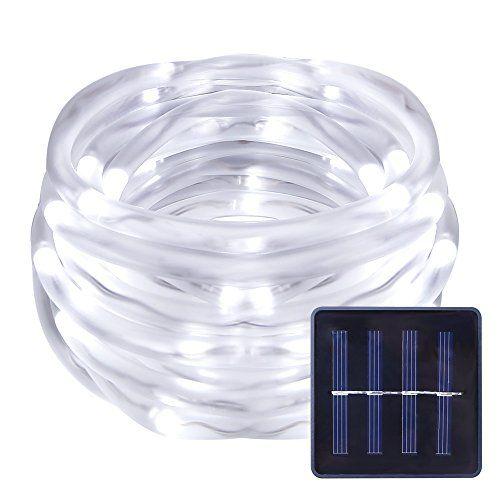 LE LED Solar Lichterkette Solarlichterkette, 7 Meter (5m Schlauch + 2m Anschlusskabel), Wasserdicht, 50 LEDs, 1,2V, Tageslichtwei�, tragbar, mit Lichtsensor, Au�enlichterkette, Weihnachtsbeleuchtung, Beleuchtung f�r Hochzeit, Party