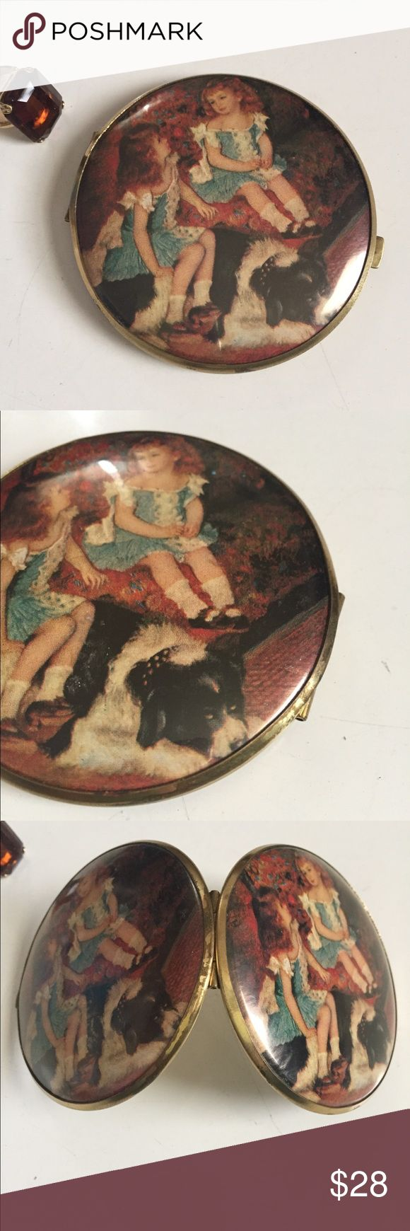 """LARGE TWO SIDED COMPACT WITH GIRLS & DOG IMAGE Large two sided mirrored compact I believe made in West Germany. You will see many of these German made compacts with varying prices according to condition, initial investment & overhead cost. The compact does show signs of wear as shown in the photos. The mirrors are in great shape despite it being a well used piece!! The two little girls sitting with their dog is the feature of this compact! 4"""" across. Makeup Brushes & Tools"""