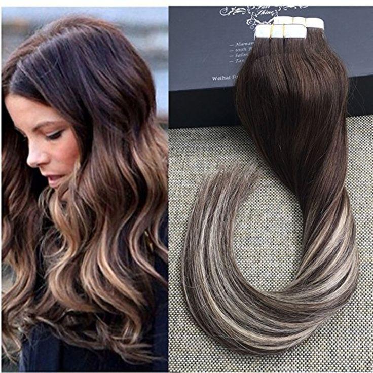 Pełna Połysk Taśmy Człowieka w Przedłużanie Włosów Ombre Hair Extensions kolor #3 #27 #3 Balayage Dip Farbowania Włosów Ludzkich Włosów Taśmy w rozszerzenia
