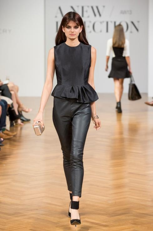 The Asymmetrical Peplum Top and the Leather Ponte Pants on the runway #Witchery