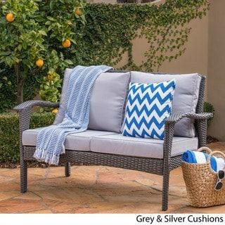 Outdoor Wicker Loveseat With Cushions