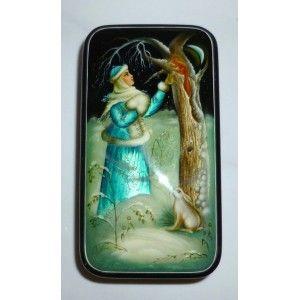 Winter scene - Fedoskino style #babushka #russiandoll #matryoshka #dollsindolls  #handmade #miniature #boxes