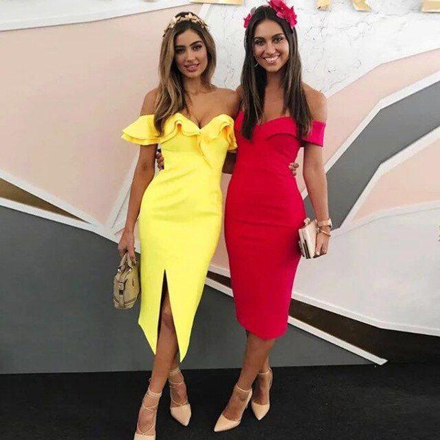 Summer off shoulder women bandage dress vestidos verano slash neck club dress celebrity party runway dresses