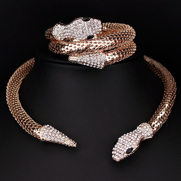 Classic Punk Jewelry  Gold/Silver Plated Crystal Snake Shape Necklace Rhinestone Collar Necklace Statement For Women X1637