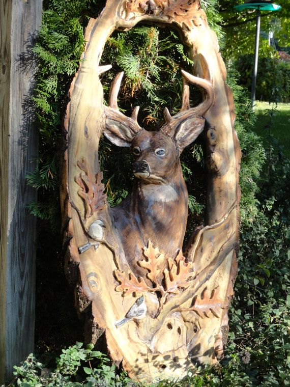 Made to order carved and painted buck deer mirror by