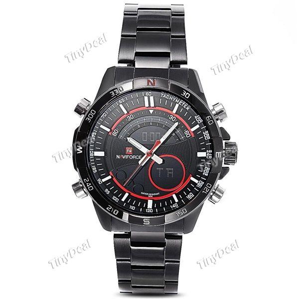 NAVIFORCE Brand 30M Water Resistant Calendar Alarm Analog-digital Quartz Watch Stainless Steel Men WWT-383057