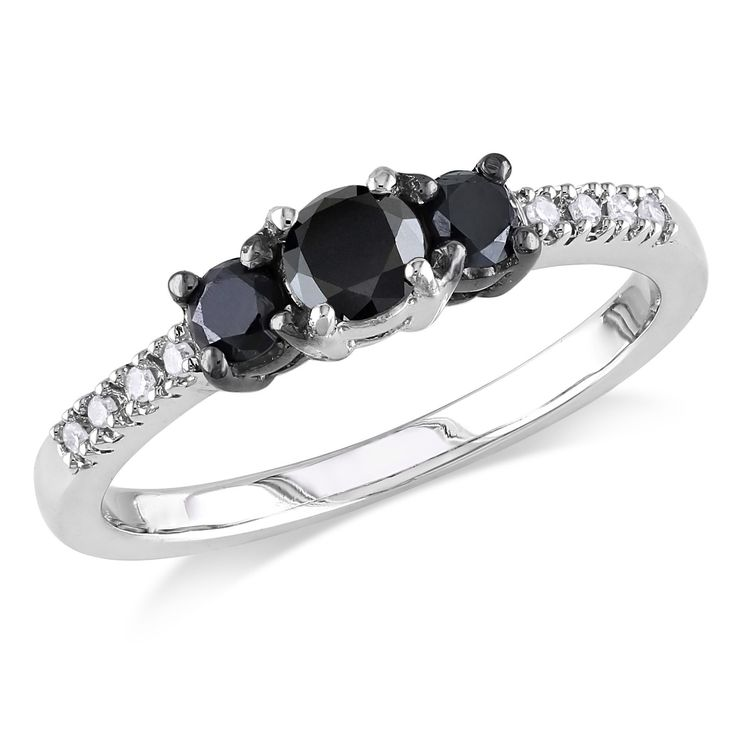 Miadora Sterling Silver Black and White Diamond 3 stone Promise Ring by Miado