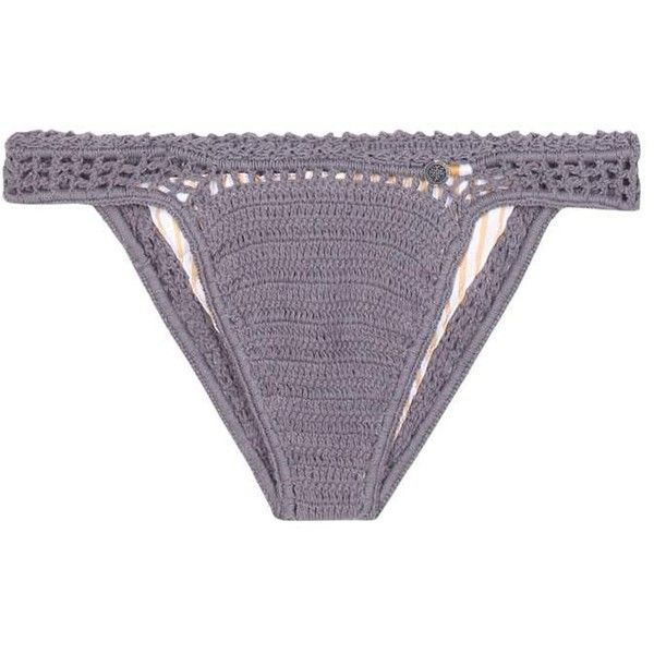 She Made Me Essential Cheeky Crochet Bikini Bottoms (1.210.350 IDR) ❤ liked on Polyvore featuring swimwear, bikinis, bikini bottoms, beachwear, grey, crochet bikini bottom, bikini swim wear, crochet swimwear, bottom bikini and bikini bottom swimwear