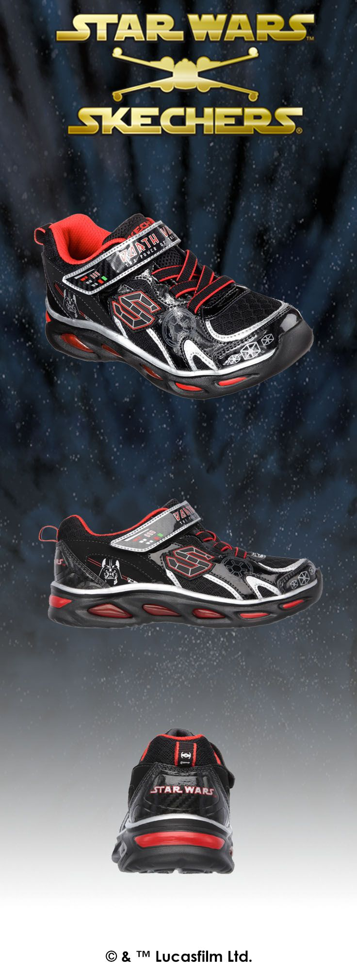Experience the power of the Empire with Darth Vader™ and the Star Wars™ Skechers collection. | http://spr.ly/6004BuHwo