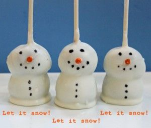 Snowman Cake Pops recipe. These are for you, Mel.