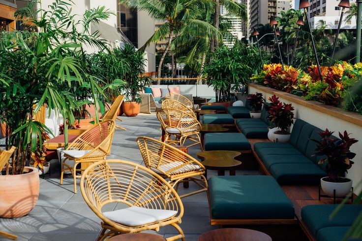 Throughout the hotel, the designers sourced a mix of new, custom, and vintage furnishings. The outdoor spaces include furniture by Kettal, custom cabanas, and lounges inspired by Locus Solus Lounge Chairs.