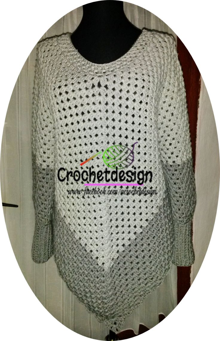 Crocheted poncho with sleeves