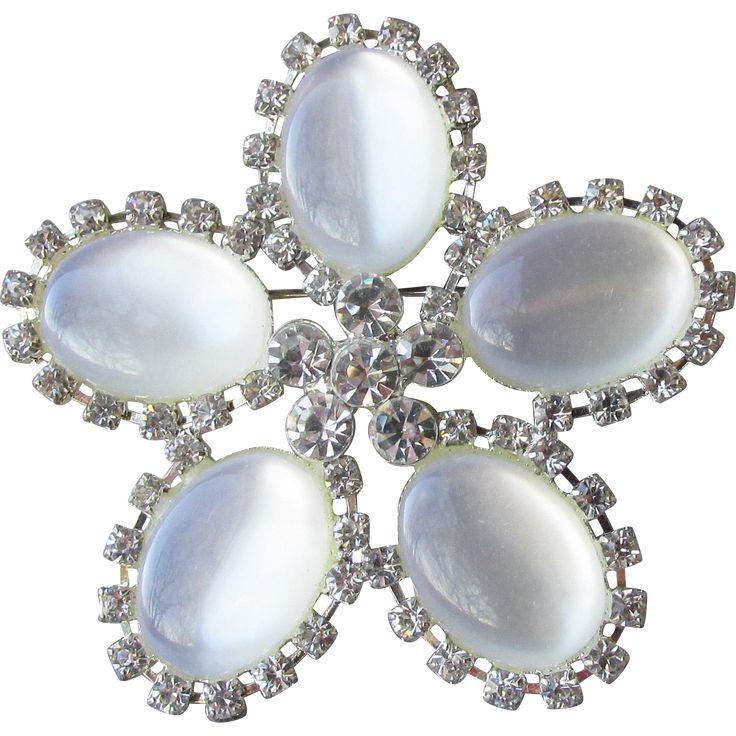 Vintage Signed RMN Roman Jewelry Company White Lucite Moon Glow & Rhinestone Flower Pin