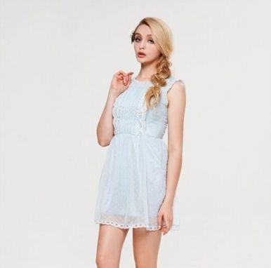 Newly Sweet Style Lace Decorate Sleeveless Chiffon Dress Light Blue