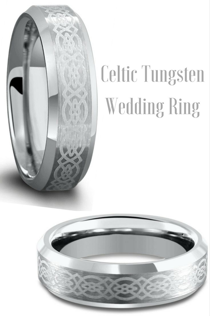 Mens Celtic Wedding Ring Laser Etched Design And Crafted Out Of Tungsten Carbide