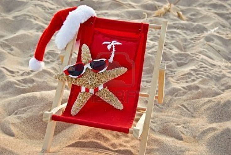 Have Alex sitting on a beach chair, with a santa hat on the top like this, with sunglasses on.  CUTE.