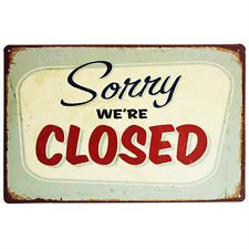 "Vintage Style ""Sorry We Are Closed"" Metal Wall Art Plaque Sign Shop Barbers Gift"