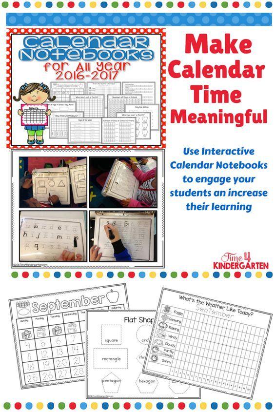 Calendar Math Binders Kindergarten : Interactive calendar notebooks for all year