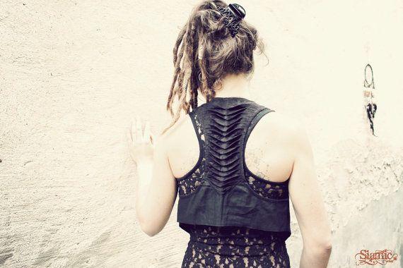REPTILE VEST • black • waistcoat tribal futuristic festival alternative • burning man