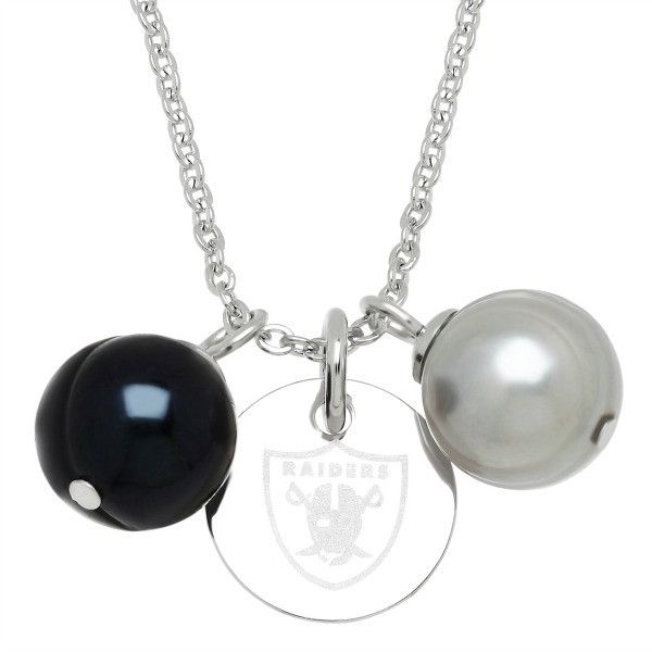 """Honora Officially Licensed NFL """"Oakland Raiders"""" Freshwater Cultured Ringed Pearl Pendant"""