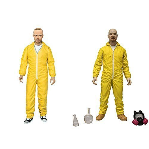 Mezco Toyz Breaking Bad: Walter White & Jesse Pinkman in Yellow Hazmat Suits Action Figure by Flat R @ niftywarehouse.com #NiftyWarehouse #BreakingBad #AMC #Show #TV #Shows #Gifts #Merchandise #WalterWhite