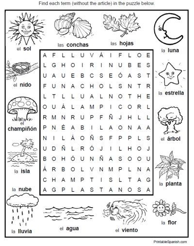 spanish word search puzzle worksheet environment nature vocabulary fun stuff printables. Black Bedroom Furniture Sets. Home Design Ideas