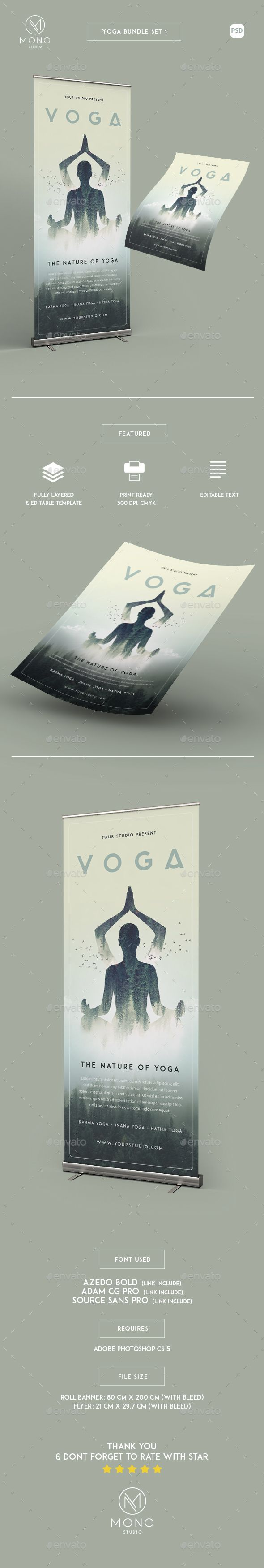 Yoga Bundle Set 1 / Flyer - Roll Banner  — PSD Template