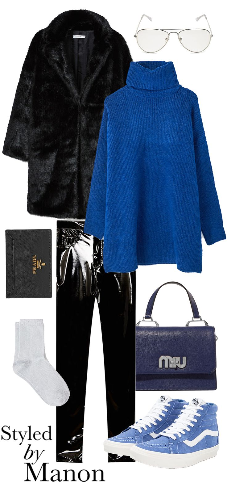 sneakers, vinyl pants, Tricot oversize & blue bag and glasses - Styled By Manon