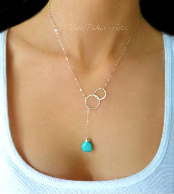 Long Turquoise Necklace - Turquoise Lariat Necklace - Teardrop Necklace - Turquoise Necklace - Turquoise Beaded Necklace - Turquoise Jewelry