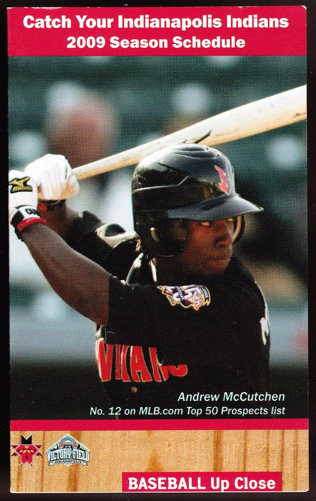2009 INDIANAPOLIS INDIANS BASEBALL POCKET SCHEDULE ANDREW MCCUTCHEN COVER #PocketSchedules