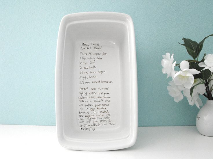 """Can be customized with any photo, text, handwritten note, recipe or drawing.9x5""""  Stoneware. Microwave, Dishwasher and oven safe!Not for use with direct flame/broiler.Great """"welcome to the family"""" gift for newlyweds from in-laws!You can send your image and design requests to: soulkitchenkeepsakes@gmail.com"""