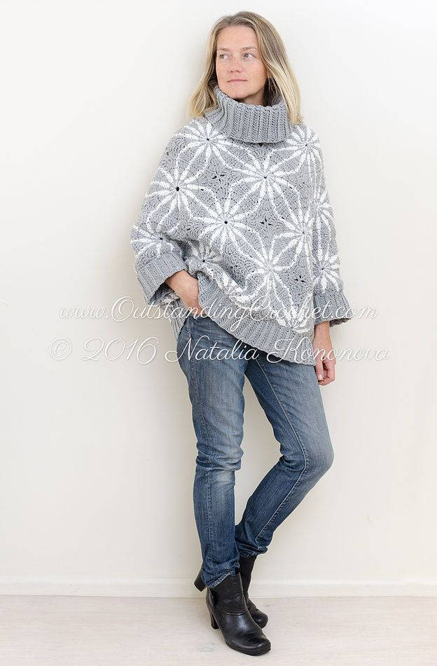 Crochet poncho sweater cape with sleeves pattern with written instructions, schematics, step-by-step pictures and charts.