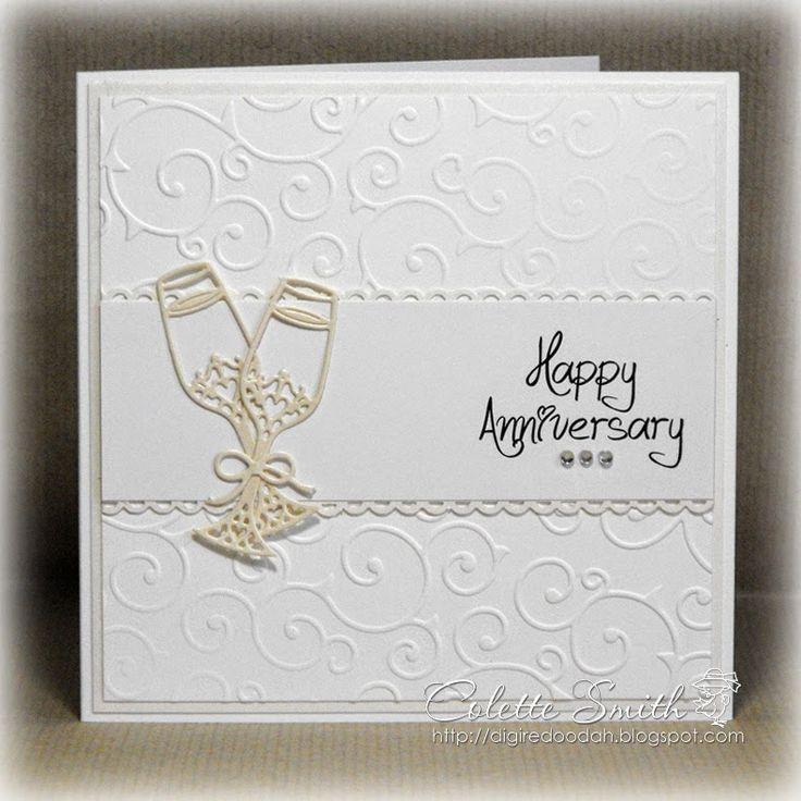 digi re doo dah champagne glasses anniversary card - Carte Felicitations Mariage