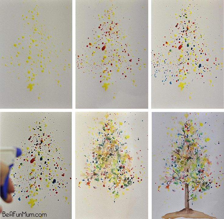 Watercolours -- Autumn Bloom Tree -> Yellow splatter, Red splatter, Blue splatter --> Water spray bottle ---> Branches ----> Autumn Tree!