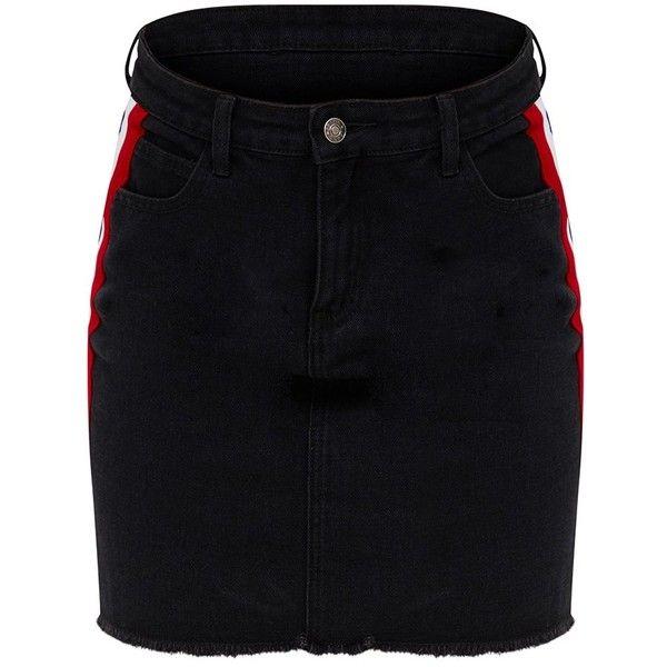 Black Sports Stripe Denim Skirt (655 ARS) ❤ liked on Polyvore featuring skirts, stripe skirt, striped skirt, sport skirts, sports skirts and denim skirt