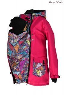 Soft.nosící kabát-jaro/podzim-růžová/bláznivé trojúhelníky