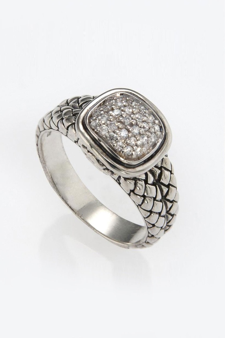Pave Diamond Equestrian Buckle Weave Ring