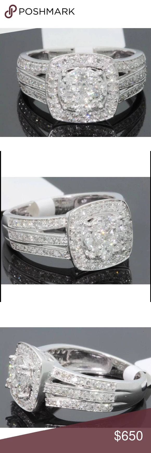 Amazing 1.10 carat 10k white gold diamond ring Amazing 1.10 carat 10k white gold diamond ring! This ring has a ton of sparkle! High quality diamonds! Retail over $3800!!! Jewelry Rings