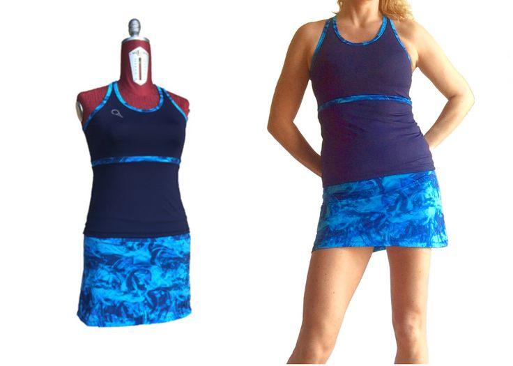 completo da tennis donna canotta blu e gonna fantasia stampa digitale con pantaloncino inserito di sartoriadeltennis su Etsy