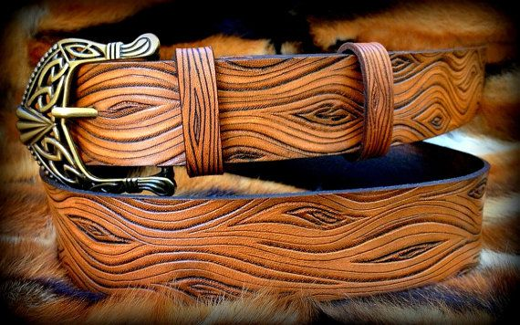 Holzoptik Leder Gürtel Hand tooled Ledergürtel von Gemsplusleather