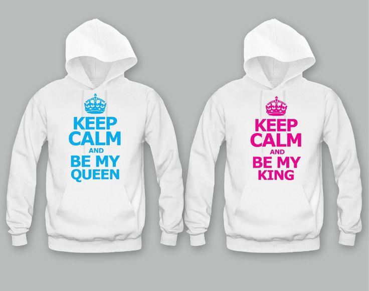 Keep calm She's My Queen - Keep Calm He's My King Unisex Couple Matching Hoodies