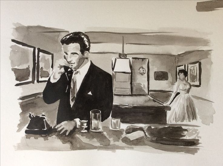 Montgomery Clift and Elizabeth Taylor, A place in the sun 1951 Ink sketch