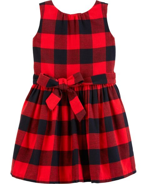 7a67cd96f08 Toddler Girl Buffalo Check Flannel Holiday Dress from Carters.com. Shop  clothing   accessories from a trusted name in kids